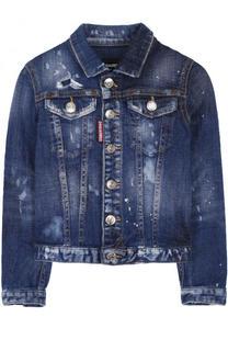 Джинсовая куртка с декоративными потертостями Dsquared2