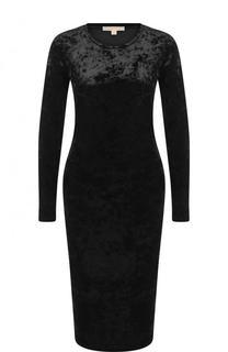 Приталенное бархатное платье с длинным рукавом MICHAEL Michael Kors