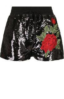 Мини-шорты с пайетками и контрастной вышивкой Philipp Plein