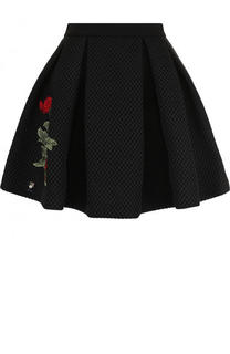 Пышная мини-юбка с контрастной цветочной вышивкой Philipp Plein