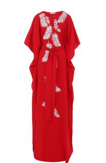 Шелковое платье-макси с контрастной вышивкой и поясом Oscar de la Renta
