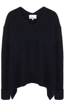 Шерстяной пуловер асимметричного кроя с V-образным вырезом 3.1 Phillip Lim