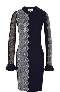 Вязаное мини-платье с длинным рукавом и кружевной отделкой 3.1 Phillip Lim