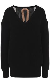 Хлопковый пуловер с шелковой плиссированной спинкой No. 21