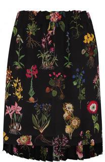 Шелковая мини-юбка с цветочным принтом No. 21