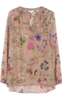 Шелковая блуза свободного кроя с принтом Escada Sport