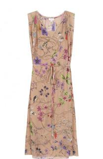 Шелковое платье-миди с принтом и поясом Escada Sport