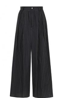Широкие хлопковые брюки в полоску Mm6