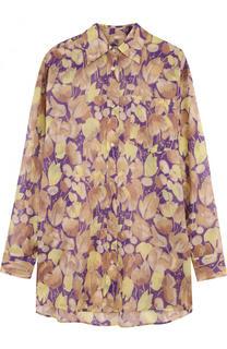 Удлиненный хлопковая блуза свободного кроя с принтом Dries Van Noten