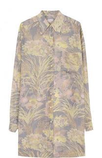 Шелковое мини-платье свободного кроя с принтом Dries Van Noten