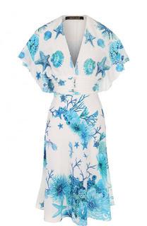 Шелковое платье-миди с принтом и V-образным вырезом Roberto Cavalli