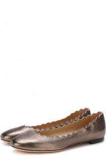 Балетки Lauren из металлизированной кожи Chloé