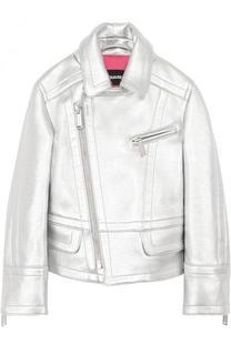 Металлизированная куртка с косой молнией и отложным воротником Dsquared2