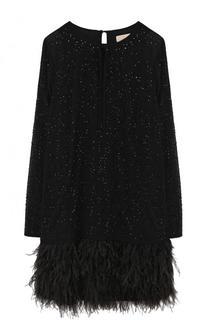 Мини-платье с длинным рукавом и перьевой отделкой MICHAEL Michael Kors