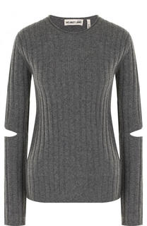 Шерстяной пуловер фактурной вязки с разрезами на рукавах Helmut Lang