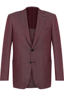 Однобортный пиджак из смеси шерсти и льна с шелком Brioni