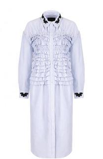 Хлопковое платье-рубашка с оборками Simone Rocha