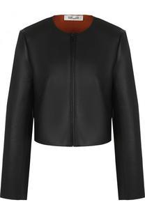 Укороченная кожаная куртка с круглым вырезом Diane Von Furstenberg