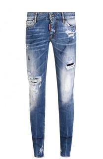 Укороченные зауженные джинсы с потертостями Dsquared2