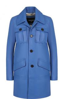 Однотонное кожаное пальто с карманами Dsquared2