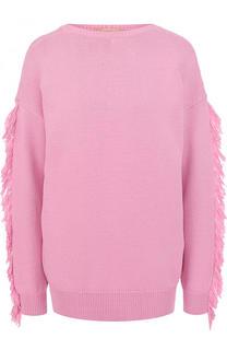 Хлопковый вязаный пуловер с бахромой No. 21