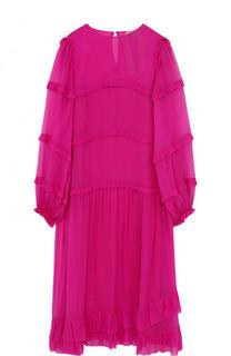 Однотонное шелковое платье-миди с оборками No. 21
