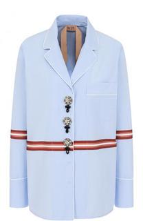 Хлопковая блуза в пижамном стиле с декорированными пуговицами No. 21