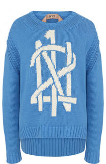 Хлопковый пуловер с удлиненной спинкой и логотипом бренда No. 21