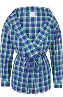 Хлопковая блуза в клетку с поясом и V-образным вырезом Stella Jean