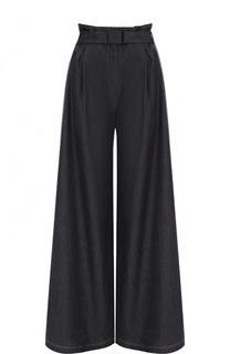 Хлопковые расклешенные брюки с поясом и карманами No. 21
