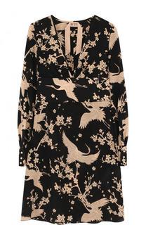 Приталенное шелковое мини-платье с принтом No. 21