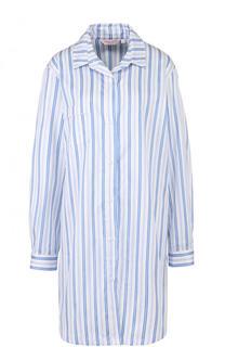 Хлопковая сорочка свободного кроя в полоску Derek Rose