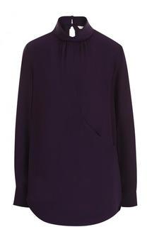 Шелковая блуза свободного кроя с воротником-стойкой Chloé