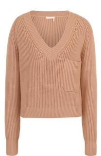 Шерстяной пуловер фактурной вязки с V-образным вырезом Chloé