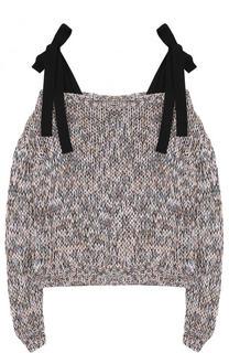 Хлопковый пуловер фактурной вязки с бантами Rochas