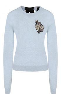 Шерстяной пуловер с контрастным бантом и декоративной отделкой Rochas