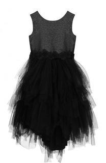 Платье с металлизированной отделкой и многослойной юбкой Aletta