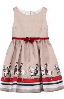 платье с принтом и бархатным поясом Monnalisa