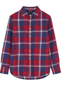 Хлопковая блуза с принтом Polo Ralph Lauren