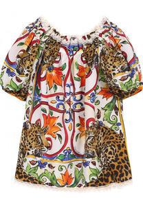 Хлопковый топ свободного кроя с принтом и открытыми плечами Dolce & Gabbana