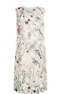 Шелковое мини-платье с принтом и круглым вырезом M Missoni