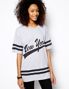 Oversize-футболка в студенческом стиле Daisy Street - Серый