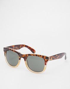 Квадратные солнцезащитные очки в черепаховой оправе River Island - Серый