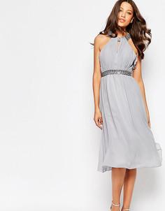 Короткое приталенное платье с завязкой на шее Little Mistress Tall - Серый