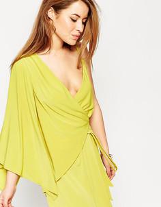Асимметричное платье мини с запахом ASOS PETITE - Зеленый