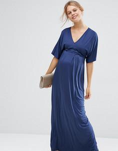 Платье-кимоно макси для беременных ASOS Maternity PETITE - Темно-синий