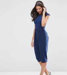 Платье миди с кружевным лифом ASOS PETITE WEDDING - Темно-синий
