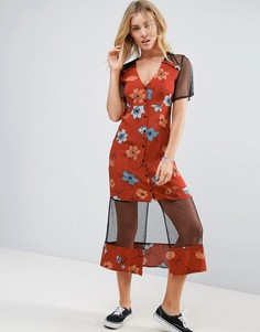 Платье миди с сетчатыми вставками Minkpink - Мульти