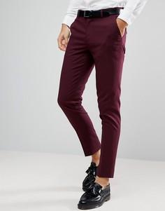 Бордовые зауженные брюки ASOS - Красный