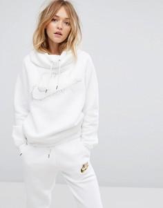 Худи с логотипом металлик и воротником-труба Nike - Белый